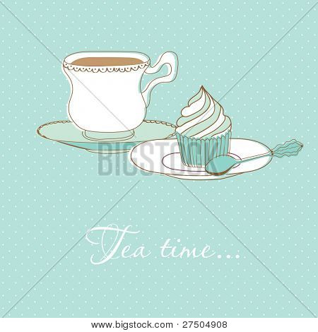 Vector background with tea cup and cupcake illustration