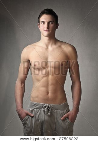 Fit bare-chested young man