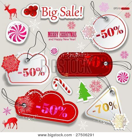 Christmas Sale. Paper discount coupons