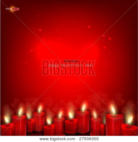 Two red burning heart shaped candles on dark red background. Vector background