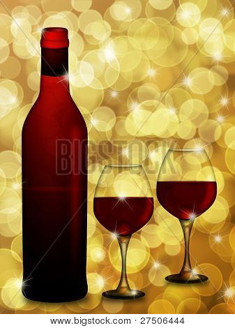 Red Wine Bottle And Two Glasses  With Blurred Background Illustration