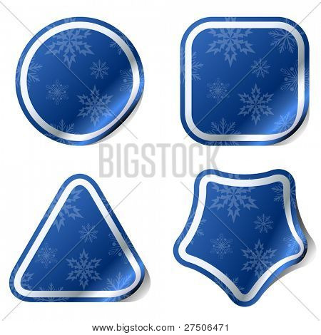 Christmas blue stickers with snowflake pattern.