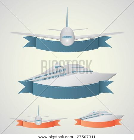 Plane and ship banners. In a blue and red colors.