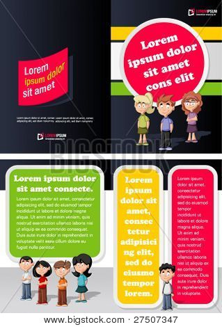 Colorful template for advertising brochure with kids students