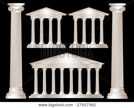 A vector illustration of a classical style white marble temples and pillars. Isolated on black background. Also available in vector format