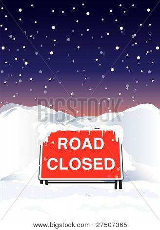 A Road Closed sign due to heavy snowfall. Also available in vector format