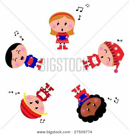 Winter Kids Singing Silent Night Song. Cartoon Illustration.