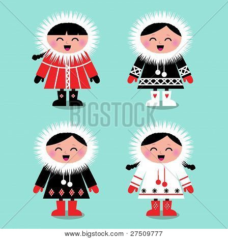 Cute Eskimo Kids Group Isolated On White ( Vector )