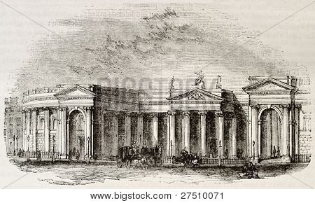 Irish bank, Dublin. Irish parliament seat before UK unification. By unidentified author, published on Magasin Pittoresque, Paris, 1844