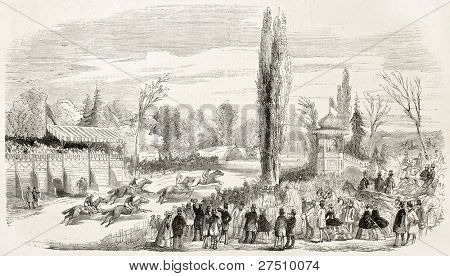 Steeplechase in La Marce racecourse, France. Created by Rouargue, published on L'Illustration, Journal Universel, Paris, 1858