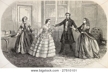 Helene Peyron representation Odeon Theater, Paris. Drama by Louis Bouilhet. Fifth act. Created by Gaildrau, published on L'Illustration, Journal Universel, Paris, 1858