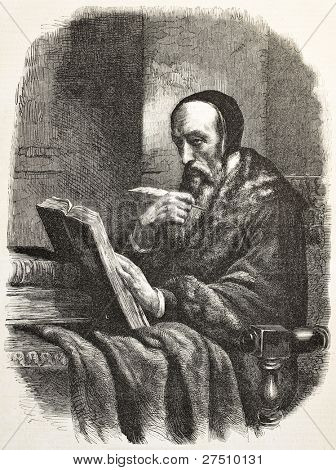 John Calvin old engraved portrait, French theologian during the Protestant Reformation. Created by Marc after Scheffer, published on L'Illustration, Journal Universel, Paris, 1858
