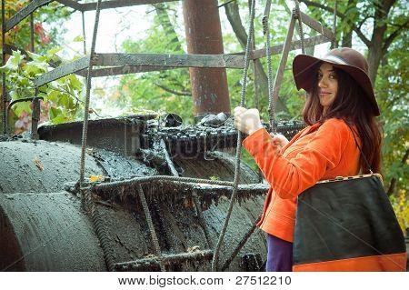 girl near the tank