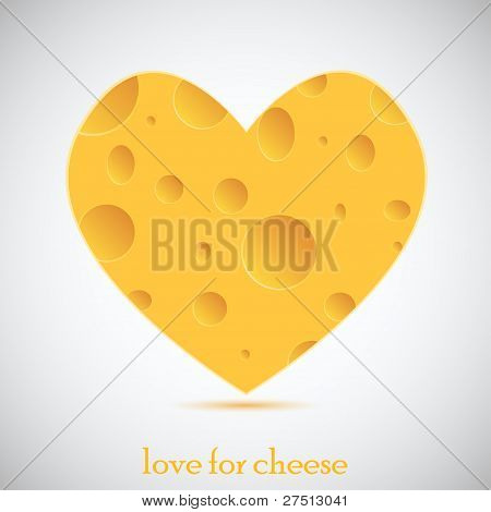 Concept Love For Cheese. Vector Illustration