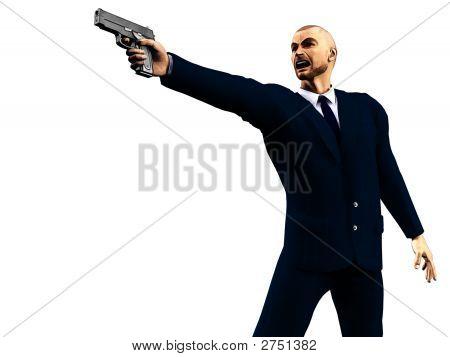 Enraged Man In A Dark Suit Holding A Gun