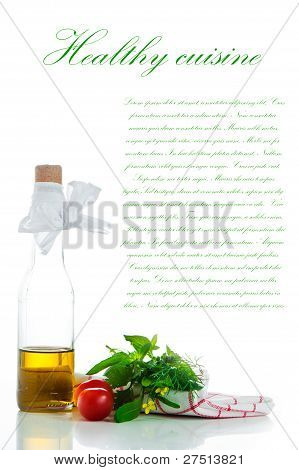 A Bottle With Olive Oil And Some Herb On White Background With A Area For You Text