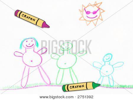 Childs dibujo crayones W