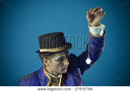 man with a clock