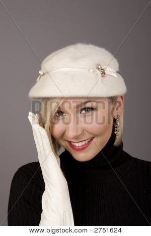 Blonde White Fur Hat One Glove