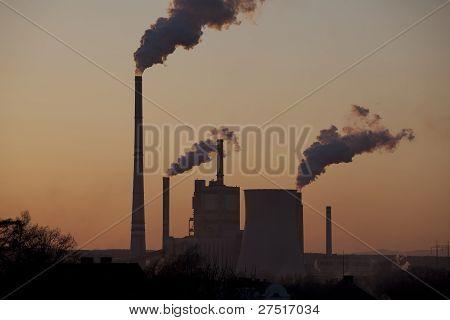 Power Plant In Sunset, Smoking