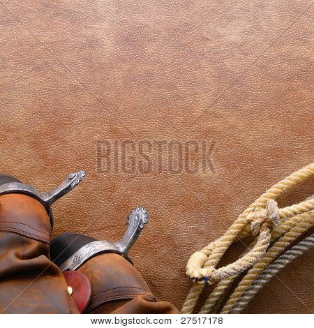 American West Rodeo Cowboy Boots Lariat Background