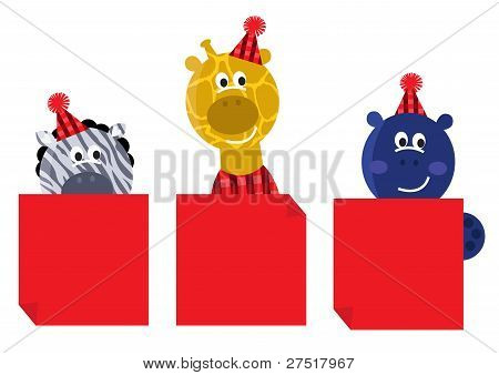 Cute Safari Animals With Red Christmas Banners Isolated On White