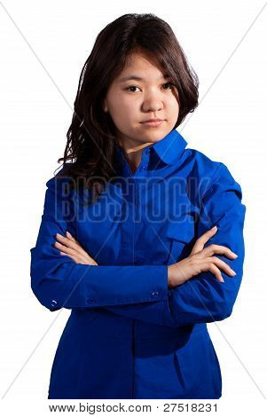 Asian girl folding her arms
