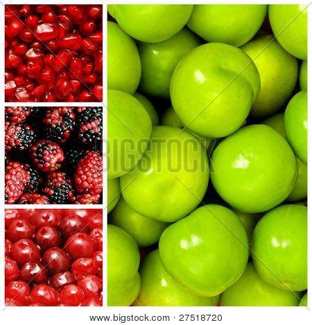 Set of various food items