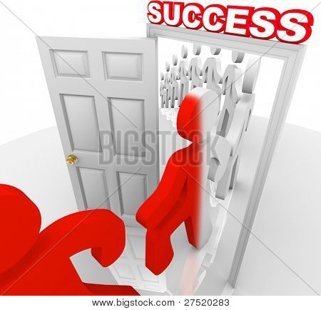 A line of people step through a doorway marked Success and are changed to a new color symbolizing that they have been transformed to achieve and accomplish their goals in life