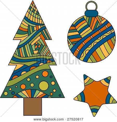 Christmas tree, bauble and star vector