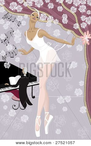 Graceful ballerina on the stage showered with flowers and  pianist at the piano in the background