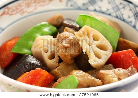 chikuzenni, japanese nimono cuisine, simmered chicken and vegetables,special new year's food