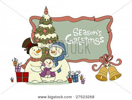 Family of the snowman near to a Christmas fur-tree