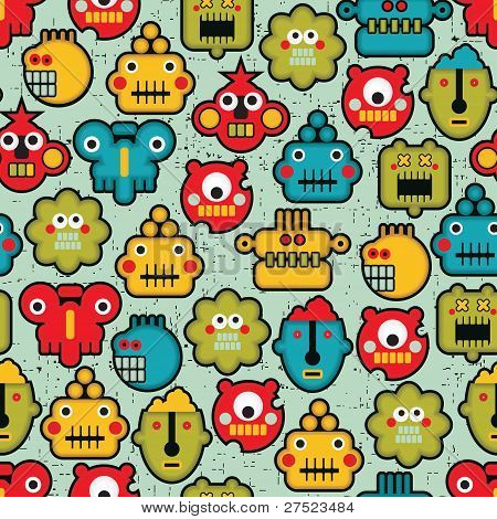Robot and monsters cute faces seamless pattern.