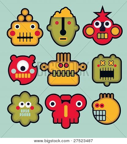 Cartoon robots and monsters faces in color #3.