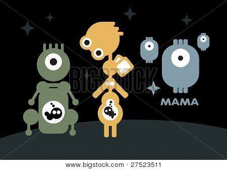Robots: pregnant and mother with children.