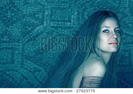 illustration of beautiful woman with long curly hair on ancient mosaic tiles in the background.