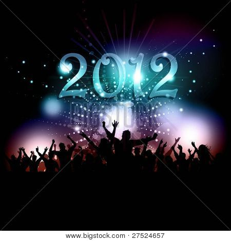 Silhouette of a party crowd on a New Years background