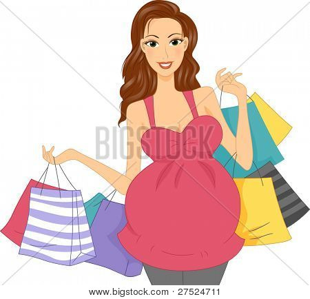 Illustration of a Pregnant Girl Carrying Shopping Bags