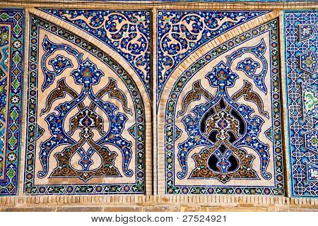 Tiled oriental mosaic wall of  Ateegh Jame mosque , Esfahan, Iran
