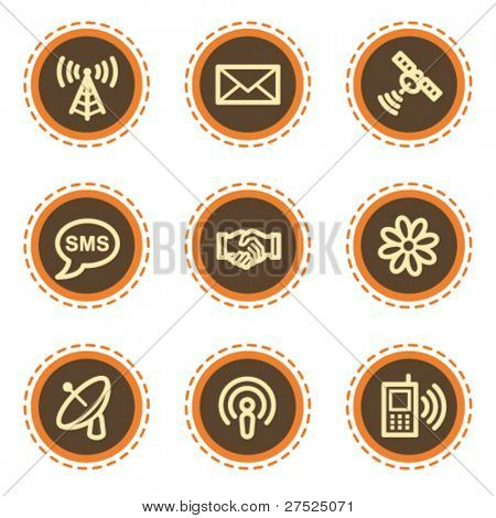 Communication web icons, vintage  buttons