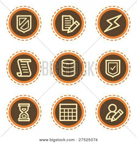 Database web icons, vintage  buttons