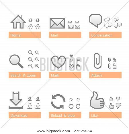 Universal software icon set. Web part