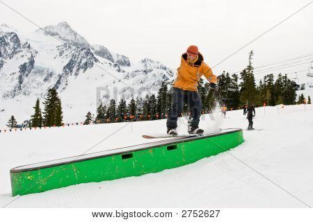 Snowboarding Riding A Box