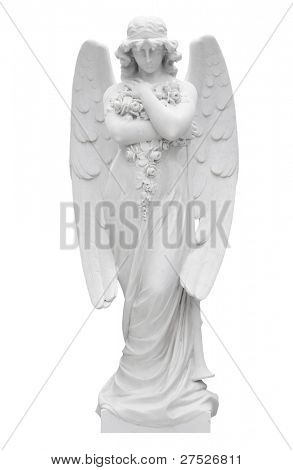 Marble statue of a beautiful angel isolated on white with clipping path