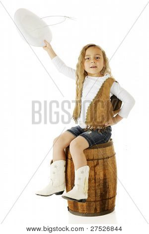 A cute kindergarten cowgirl raising her hat in greeting.  On a white background.