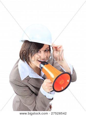 business woman in hard hat speak in megaphone