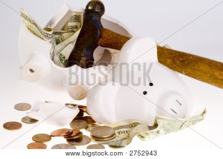 Broken Piggy Bank  - American Currency
