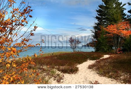 Superior lake shore on a cloudy day during autumn time