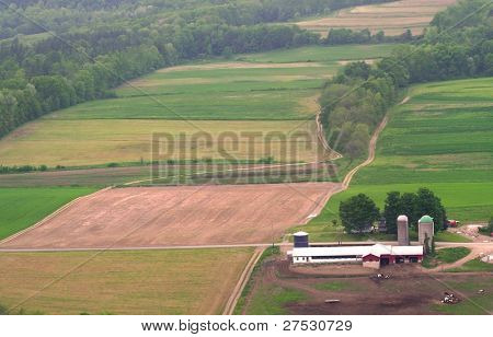 Aerial view of fields in Pennsylvania country side